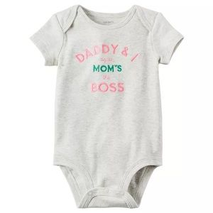 NWT Carter's Daddy & I Agree Mom's The Boss Onesie